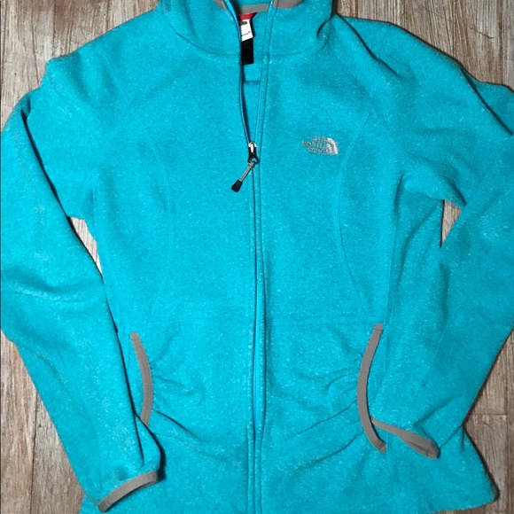 98e4aef70860 Turquoise zip-up North Face fleece jacket. M 5a412195a4c48578d302cf2f